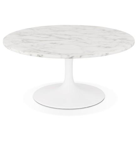 Lage salontafel 'URSUS MINI' van wit gemarmerde steen met centrale poot