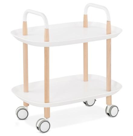 Witte design bijtafel op wielen 'VELOCE'