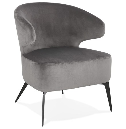 Design loungefauteuil 'VICTOR' van grijze velours met zwarte metalen pootjes