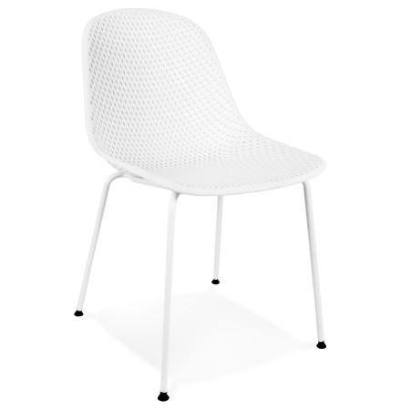 Witte geperforeerde design stoel 'VIKY' binnen/buiten