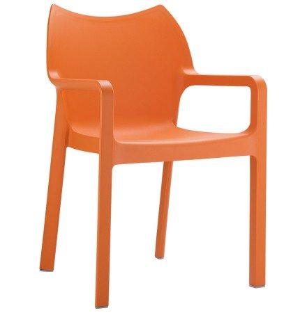 Design terrasstoel 'VIVA' uit oranje kunststof