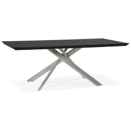 Design eettafel 'WALABY' in zwart hout met centrale metalen voet - 200 x 100 cm