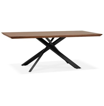 Design eettafel met x-vormige centrale voet 'WALABY' van hout met noten afwerking - 200x100 cm