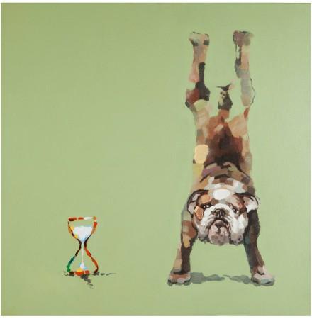 Design schilderij 'WOOOF', volledig met de hand geschilderd, 100x100cm