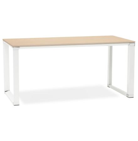Recht design bureau 'XLINE' met natuurlijke houten afwerking en wit metaal - 160x80 cm