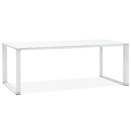 Groot recht directiebureau 'XLINE' van wit glas - 200x100 cm