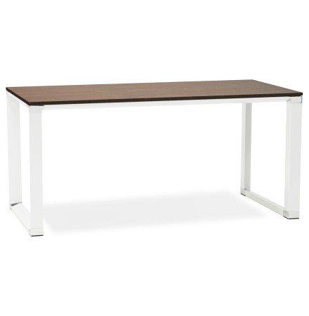 Recht design bureau 'XLINE' met notenhouten afwerking en wit metaal - 160x80 cm