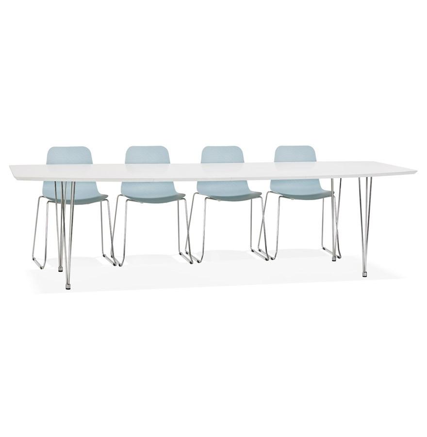 Design Witte Eettafel.Uitschuifbare Design Eettafel Huski Wit Met Verchroomd Metalen Voeten 170 270 X100 Cm