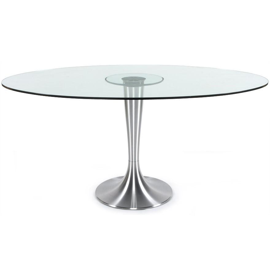 Ronde Glazen Eettafel.Ovalen Tafel Krystal Uit Doorzichtig Gehard Glas 160x108 Cm