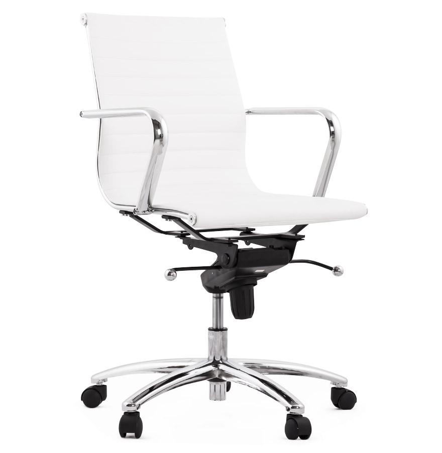 Design Bureaustoel Wit.Design Bureaustoel Mega In Wit Kunstleder