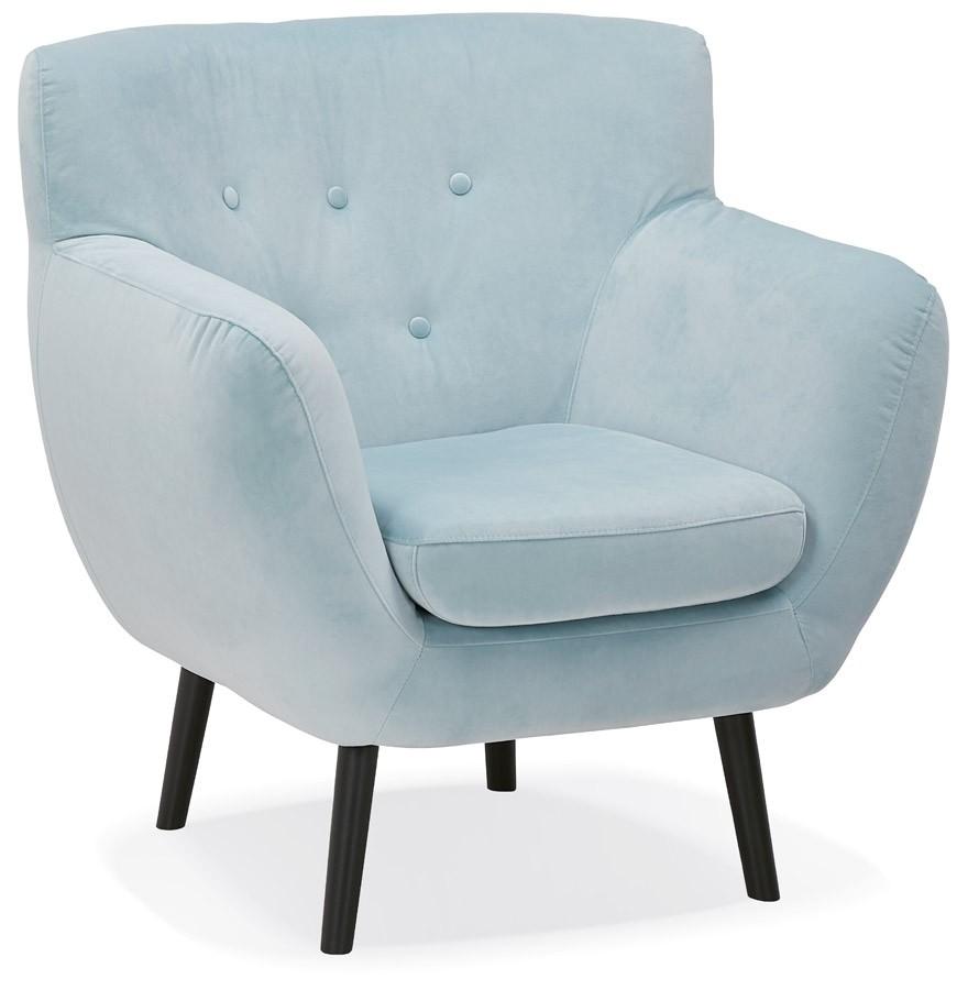 Lounge Stoel Met Muziek.1 Persoons Stoel Opera Mini In Lichtblauw Fluweel