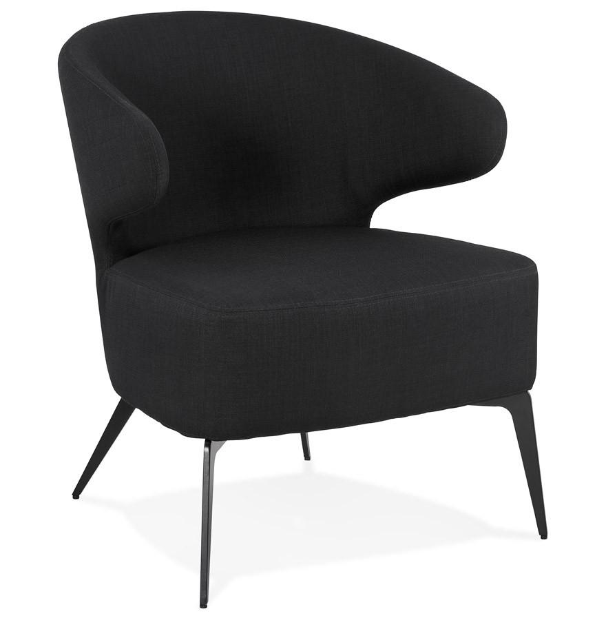 Zwarte Lounge Stoel.Soto Design Lounge Stoel In Zwarte Stof En Zwarte Metalen Poten