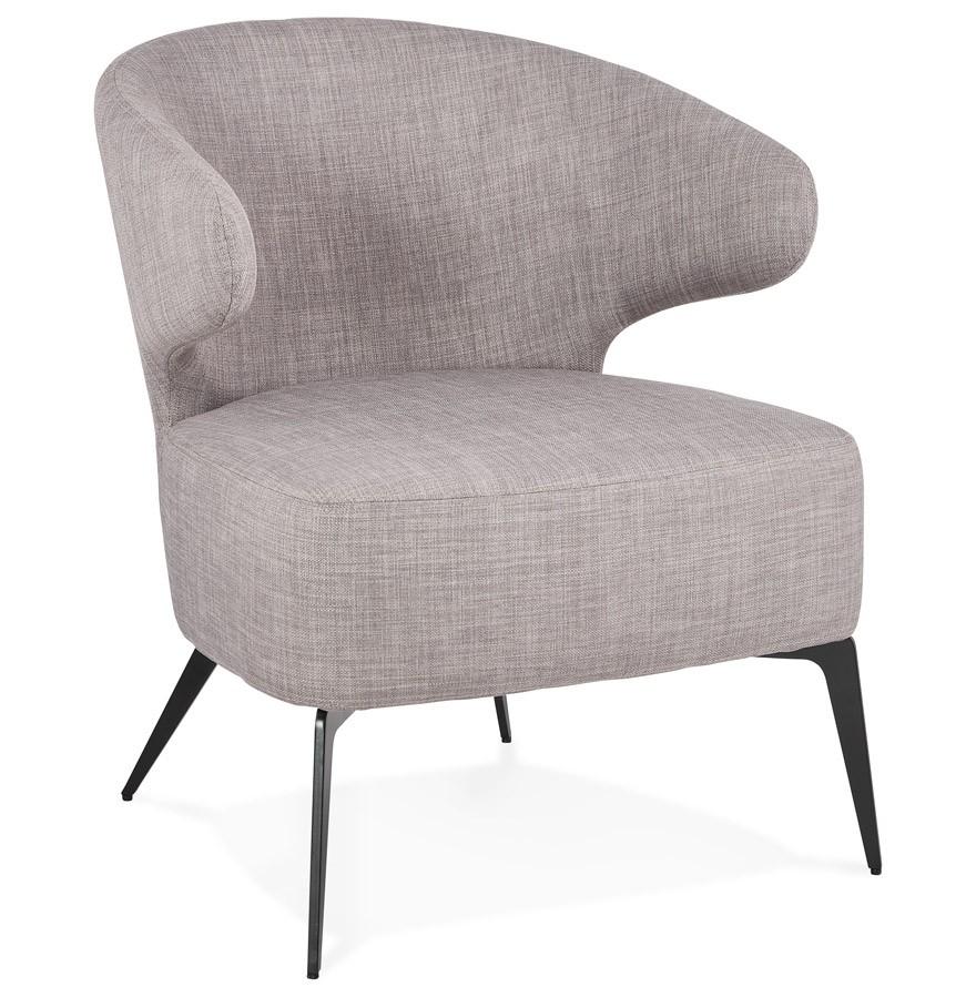 Zwarte Design Fauteuil.Lounge Stoel Design Soto In Grijze Stof En Zwarte Metalen Poten