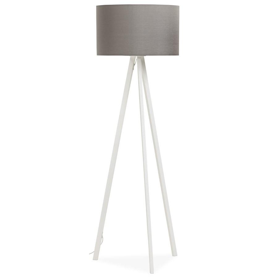 Witte Staande Lamp.Staande Lamp Op Driepoot Spring Met Grijze Lampenkap En 3 Witte Poten