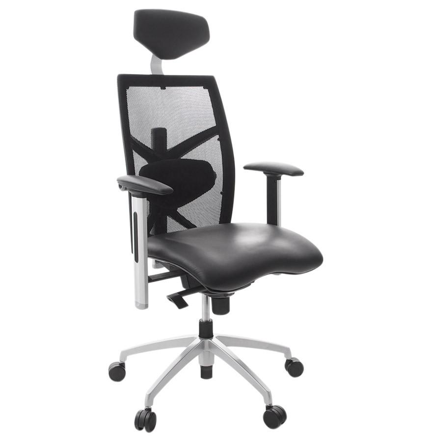 Ergonomische bureaustoel tokyo uit zwart imitatieleder for Bureau stoel