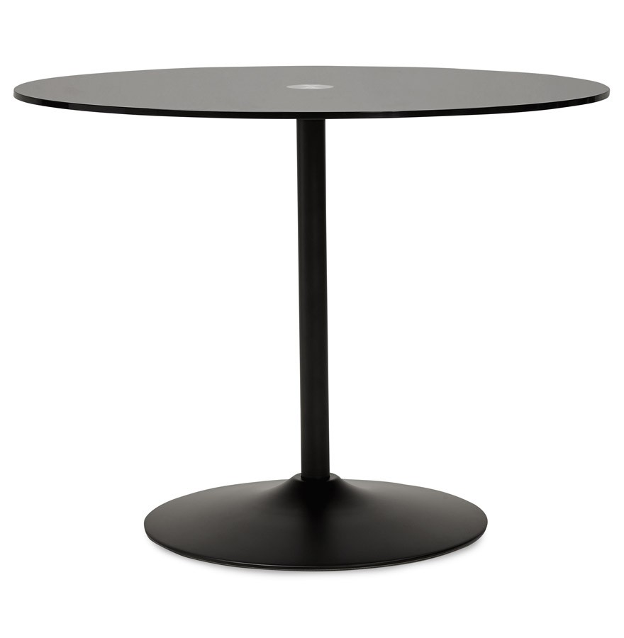 Ronde Bijzettafel Glas Metaal.Ronde Zwarte Glazen Eettafel Trobo O 100 Cm