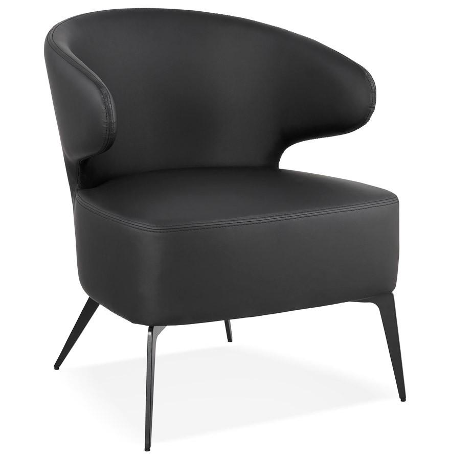 Zwarte Design Fauteuil.Design Fauteuil Wagyu Zwarte En Zwarte Metalen Pootjes
