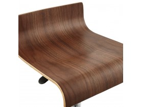 Verstelbare barkruk 'AMAZONIA' in Walnut hout