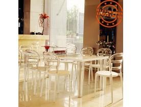 Witte en transparante design stoel 'BARO' uit kunststof