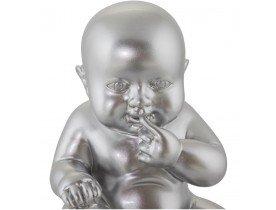 Beeld 'BABY', zittende baby in zilverkleurig polyhars