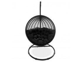 Hangstoel 'BAMBY' van zwart synthetisch riet - binnen/buiten
