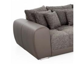 Grote, rechte zitbank 'BYOUTY' taupe met 4 zitplaatsen in imitatieleer en stof