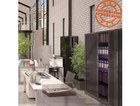 Hoge kantoorkast met roldeur 'CLASSIFY' zwart - 198x120 cm