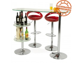 Design barkruk 'COMET' met rode, in de hoogte regelbare zitschaal en rugleuning