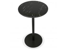 Ronde hoge tafel 'CORY ROUND' van zwart gemarmerde steen en zwart metaal - 60x60 cm