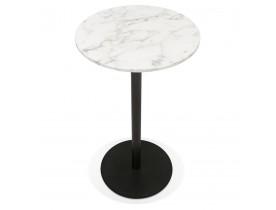 Ronde hoge tafel 'CORY ROUND' van wit gemarmerde steen en zwart metaal - 60x60 cm