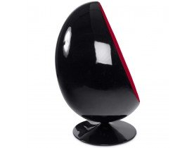 Zwart en rode eivormige zetel 'COCOON' eistoel