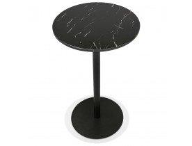 Ronde hoge tafel 'CORY ROUND' van zwart marmer en zwart metaal - 60x60 cm