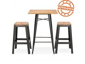 Hoge industriële tafel 'DARIUS' van donker hout met zwarte metalen poten