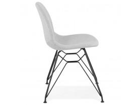 Designstoel 'DECLIK' in lichtgrijze stof met zwart metalen onderstel