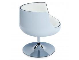 Bolvormige, draaibare design zetel 'DEKO' uit wit imitatieleder met witte zitschaal