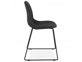Design stoel 'DISTRIKT' met donkergrijze stof en poten van zwart metaal