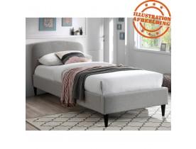 Bed 'DREAM' met lichtgrijze stoffen bekleding voor 1 persoon - 90x200 cm