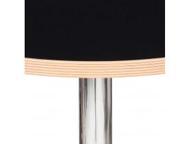 Ronde zwarte hoge tafel 'ELIOT ROUND' met een verchroomde metalen poot - Ø 60 cm
