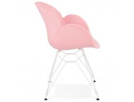 Moderne stoel 'FIDJI' roze met wit metalen voeten