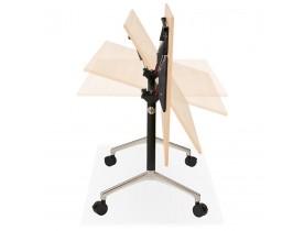 Groot opklapbaar bureau 'FLEXO' op houten wielen, natuurlijke afwerking - 160x80 cm