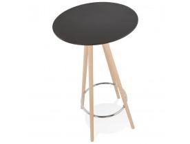 Hoge tafel / Ronde statafel 'GALA' in zwart hout en onderstel in natuurlijke afwerking