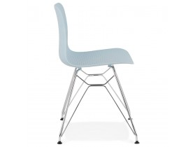 Design stoel 'GAUDY' blauw met verchroomd metalen voet