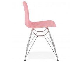 Design stoel 'GAUDY' roze met verchroomd metalen voet