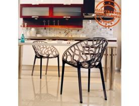 Moderne zwarte, transparante stoel 'GEO' uit kunststof