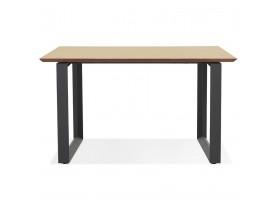 Rechte directiebureau 'GIMINI' van natuurkleurig afgewerkte hout en zwart metaal - 130x70 cm