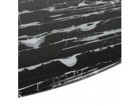 Ronde salontafel 'GOST MINI' van zwart glas met marmereffect