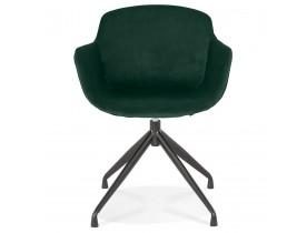 Design stoel met armleuningen 'GRAPIN' van groen velours