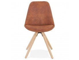 Comfortabele stoel 'HARRY' in bruine microfiber en poten in hout met natuurlijke afwerking