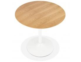 Ronde designtafel 'HUSH' van hout met natuurlijke afwerking en zwart metaal - Ø 80 cm