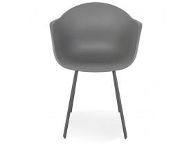Donkergrijze design stoel 'JAVEA' met armleuningen voor binnen/buiten - bestel per 2 stuks / prijs voor 1 stuk
